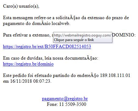 Corpo do e-mail de Como identificar e-mail falso de registro de domínio